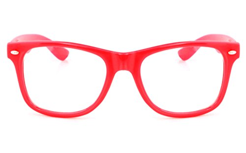 Retro Horned Rim Retro Classic Nerd Glasses Clear Lens (Red, - Frames Red Glasses