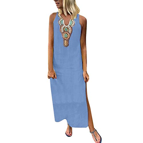 PENGYGY Woman Printed Sleeveless Skirt Casual V-Neck Maxi Dress Ladies Split Hem Baggy Long Dress Blue