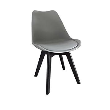 BJORN chaise coque PVC Gris pieds bois peint noir Amazon