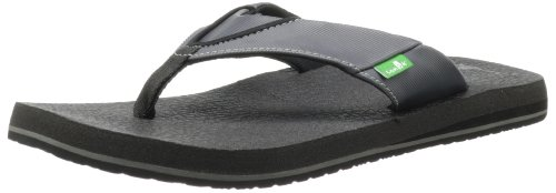 Sanuk Men's Beer Cozy Flip Flop, Black/Gray, 9 M US
