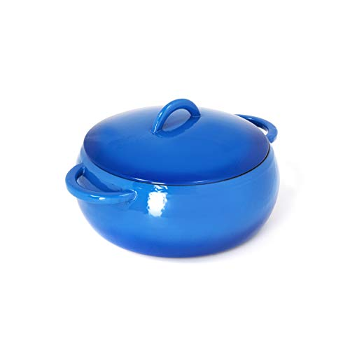 GURO Cast Iron Enamel Coated Dome Casserole Dutch Oven, 4.7QT / 4.5L (Blue)