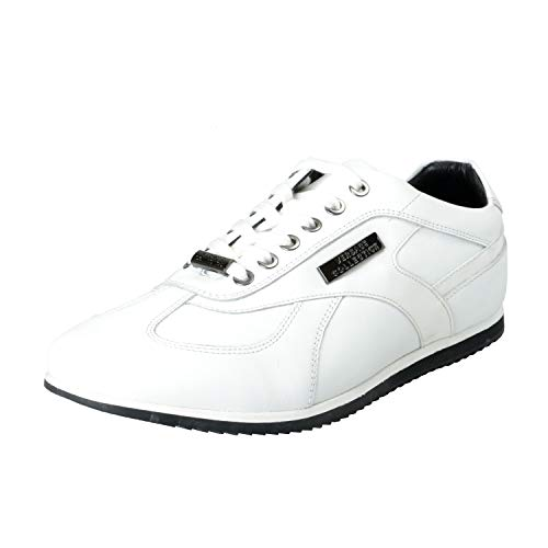 Versace Collection Men's White Leather Fashion Sneakers Shoes Sz US 10 IT ()