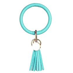 Weixiltc Large Circle Key Ring Leather Tassel Bracelet Holder Keychain Keyring For Women Girl (Light Green)