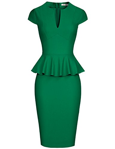 (MUXXN Women's Vintage 50's Retro Peplum Cap Sleeve Bodycon Juniors Knee Dress (Green S))