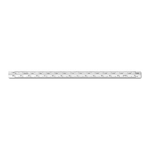 Alumicolor Aluminum Engineer Metric Pocket Scale, 15CM, Silver