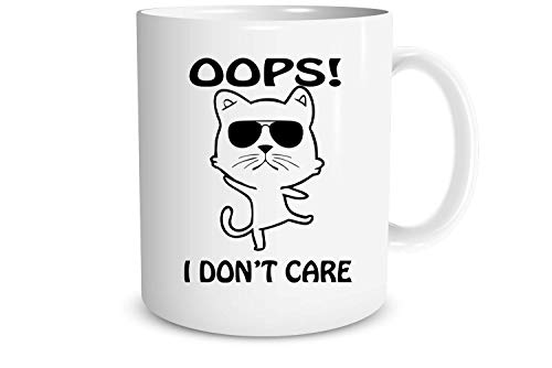 Funnwear Oops! I Dont Care 11oz Ceramic Coffee Mug - Funny Grumpy Angry Middle Finger Pet Cat- Birthday Christmas New Year Present- Secret Santa Xmas - Ideal Gift for Cats Lover Women Home Office