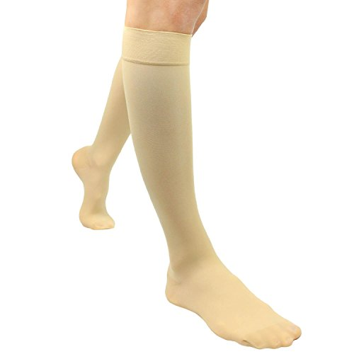 Compression Stockings by Vive - Ultra Sheer TED Hose Socks - Support for Men and Woman -Knee High Surgical Nurse Socks - Anti-Embolism, Varicose and Edema Support for Swelling & Soreness (Large) (Hose Ted)