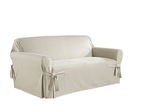 - Serta 863045 Relaxed Fit Duck Slipcover Box Loveseat, Parchment