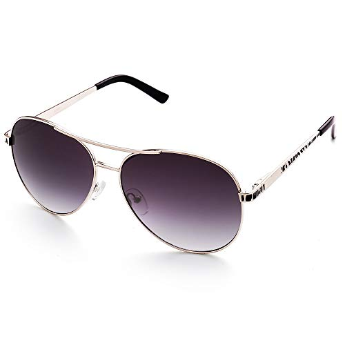 LotFancy Aviator Sunglasses for Women with Case, UV400 Protection, 61MM, Lightweight Eyewear for Driving Fishing Sports, Grey Gradient Lens, Silver Metal ()
