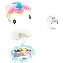 Animolds White Hand Painted Squeeze Me Unicorn With Poo Poo Unicorn Keychain Set