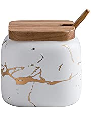 Marble Ceramics Sugar Bowl Ceramic Seasoning Box Ceramic Spice Jars Porcelain Condiment Pots with Lid and Spoon (White)