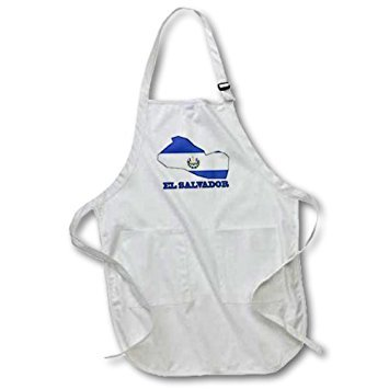 - 3dRose apr_58776_2 El Salvador Flag in The Outline Map and Words El Salvador Medium Length Apron with Pouch Pockets, 22 by 24-Inch