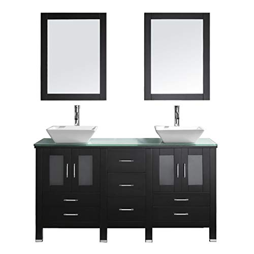 Virtu USA Bradford 60 inch Double Sink Bathroom Vanity Set in Espresso w/ Square Vessel Sink, Aqua Tempered Glass Countertop, Single Hole Polished Chrome, 2 Mirrors - MD-4305-G-ES ()