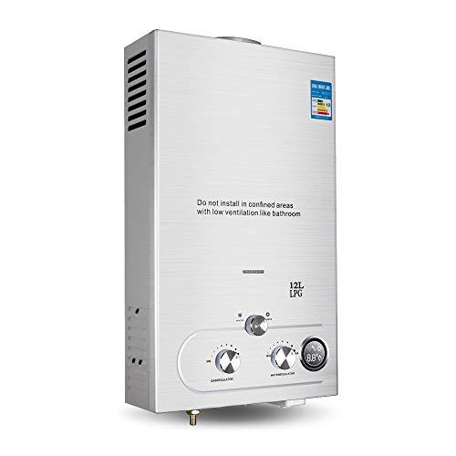 12L/3.2Gallon Tankless Water Heater High Efficient LPG Propane Gas Hot Water Heater Instant Boiler Bathroom Shower