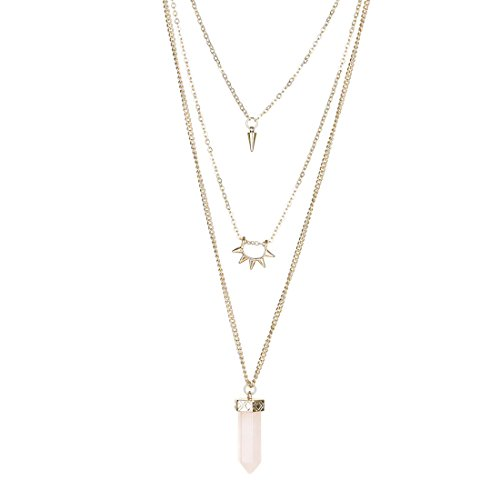 Fettero Womens Natural Stone Three Layered Pendant Long Chain Necklace 14K Gold Plated with Lucky Rose Quartz Stone Rivet