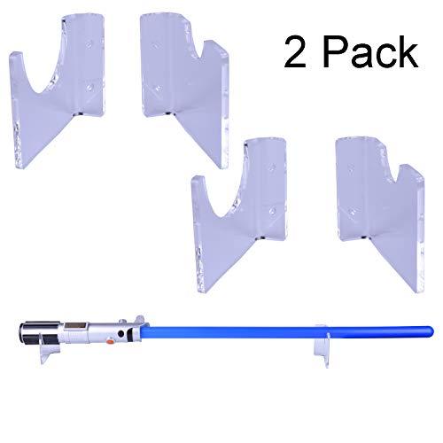 LEKUSHA 2 Pack Clear Horizontal Light Saber Holder Wall Mount Rack Hook Stand, Compatible for Any Lightsaber Display - Hardwares Included