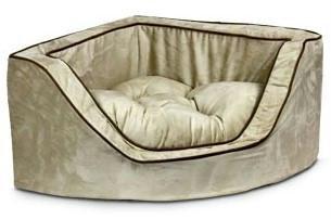 Snoozer Luxury Pet Sofa - Snoozer Luxury Corner Pet Bed, Large, Hot Fudge/Cafe