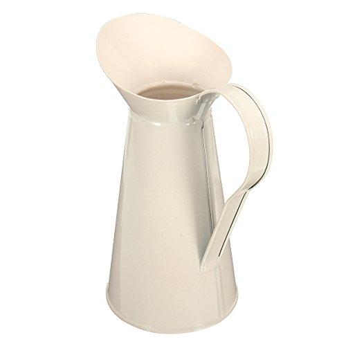Enamel Jug (MD Group Vase Enamel Pitcher White Vintage Shabby Chic Cream Jug Pot Tall Metal Wedding Decor)