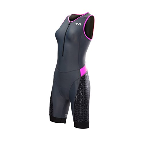 TYR Competitor Front Zip Tri Suit - Women's Grey/Pink, - Brands Suit Tri
