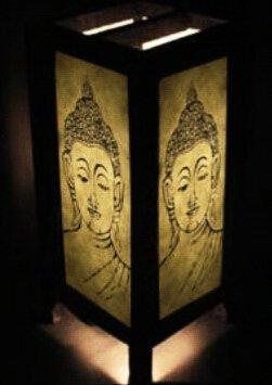 Thai Vintage Handmade ASIAN Oriental Chinese WHITE BUDDHA Styles Art Bedside Table Lamp Lighting Shades