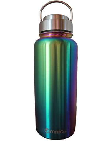 Omnia h2o Canteen - 32oz Vacuum Insulated Stainless Steel Water Bottle - Wide Mouth Flask with All Metal Lid - Enjoy Hot and Cold Drinks in this Sweatproof Water Bottle (Abalone Shell)