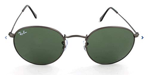 Ray-Ban RB3447 Round Metal Sunglasses, Matte Gunmetal/Green, 50 ()