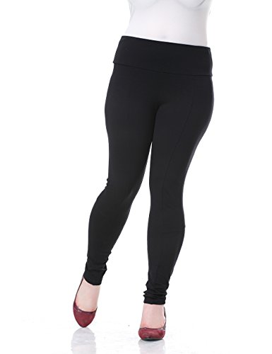 Chicwe Women's Deep Waist Band Plus Size Jeggings Leggings Style Skinny Pants 22, Black