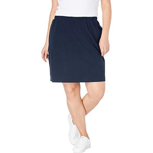 (Woman Within Women's Plus Size Stretch Cotton Skort - Navy, 4X)