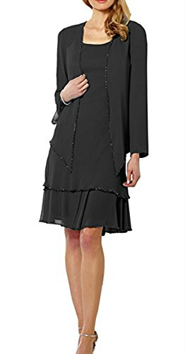 Mother Pieces Two Dress Bride with 2 Jacket Black Women's Lace Style Short of DMDRS 46TtXxnwI