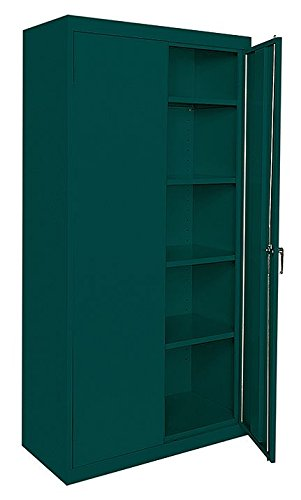 Sandusky Lee Commercial Grade All Welded Steel Cabinet - 36in.W x 18in.D x 72in.H, Light Gray, Model Number CA41361872-05
