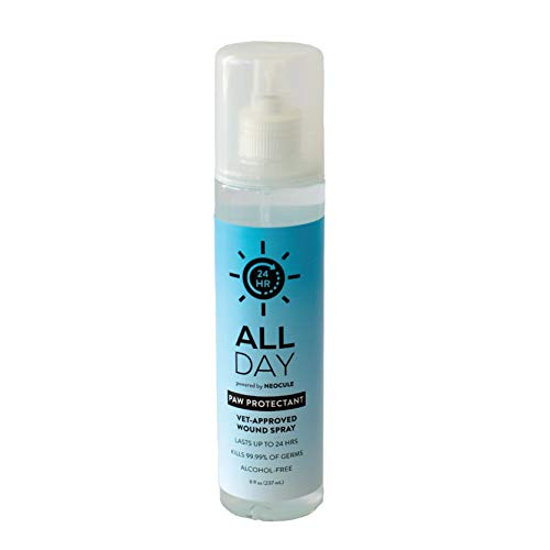 All Day Pet Paw Protectant & Wound Sanitizer Spray | Kills 99.99% of Germs & Eliminates Odors for Up to 24 Hrs | Hypoallergenic, Fragrance-Free, Alcohol-Free | Vet Approved (8oz)