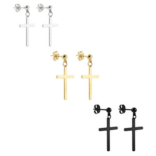 (Ogemluv Stainless Steel Dangling Cross Earrings for Men Women 3Pairs )
