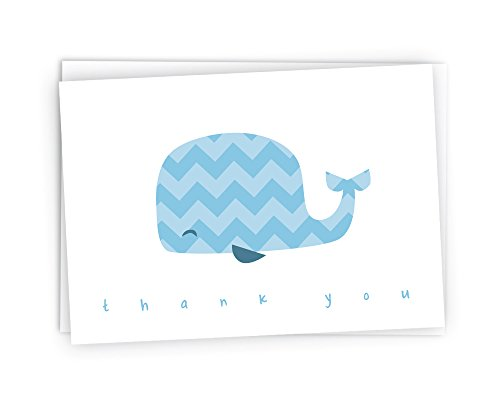 Colorful Chevron Whales Baby Thank You Note Cards - 48 Cards & Envelopes ()