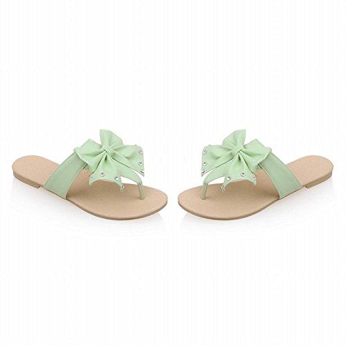 Carolbar Womens Bågar Strass Rem Godis Färger Söta Flip-flops Sandaler Tofflor Mintgrön