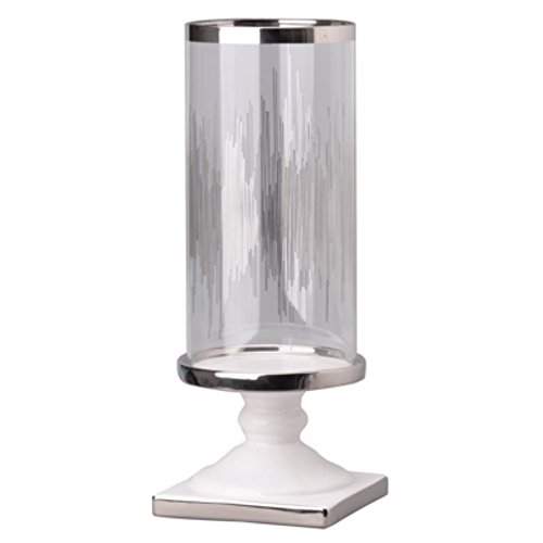 Benjara Benzara BM148650 Admirably Modern Elliotte Pedestaled Candle Holder, Clear and Silver,