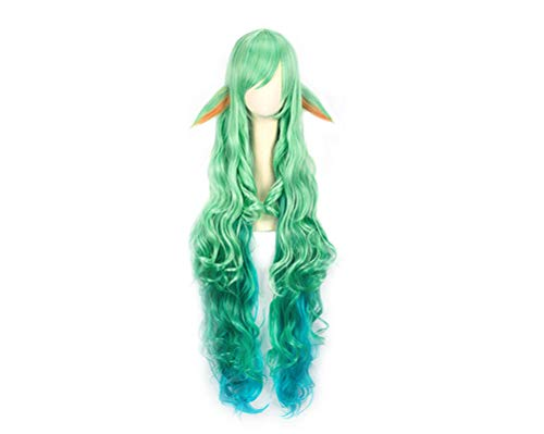 (ADLISA Women League Of Legends LOL Character Long Straight Hair Cosplay Shawl Hair Wig Hair Wear (Color : Green, Size :)