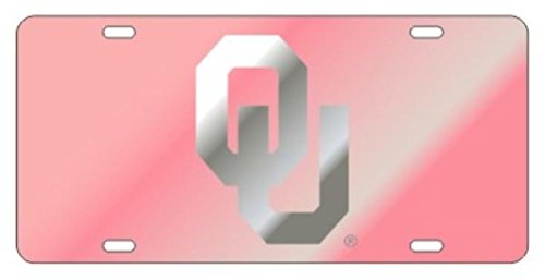 Oklahoma Sooners Laser Cut Inlaid Mirrored Pink OU Plate