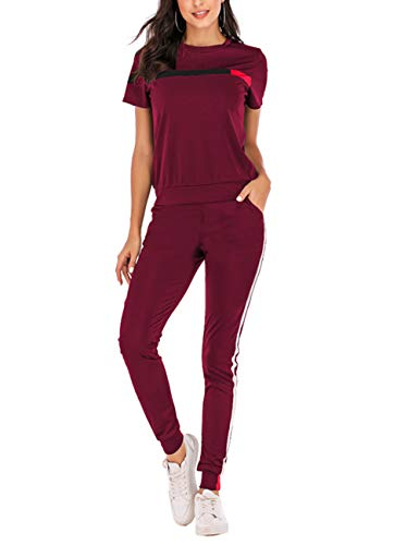 - Women Stripe Patchwork Two Piece Sweatsuit Round Neck Pullover and Skinny Long Pants Red M