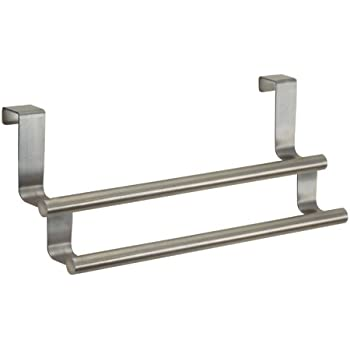 "InterDesign Forma Over-the-Cabinet Kitchen Dish Towel Bar Rack - 9"", Stainless Steel"