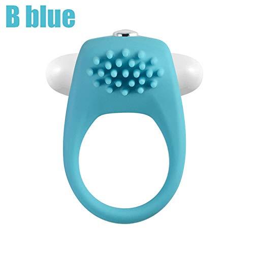 Silicone Lock Vibrating P-Enis Vibrators Ejaculation Lock Fine Adult Sex Toys for Couple Flirting,B Blue