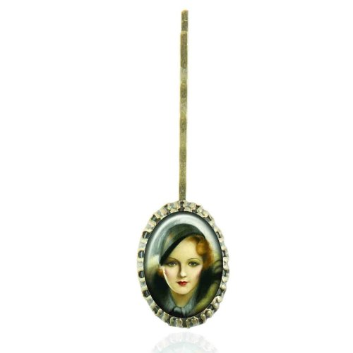 Epingle à cheveux au cabochon vintage au portrait de belle femme