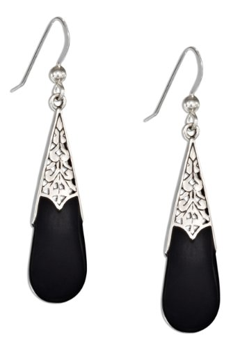 Sterling Silver Celtic Teardrop Simulated Black Onyx Earrings on French Wires