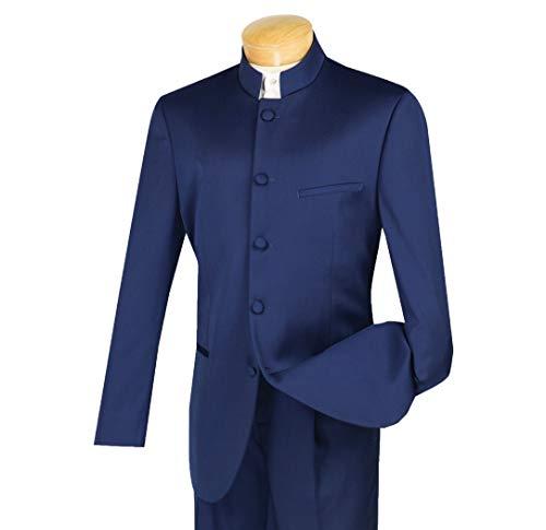 (VINCI Men's 5 Button Mandarin Banded Collar Classic-Fit Tuxedo Suit Navy Blue   Size: 38 Regular / 32 Waist)