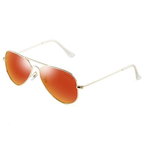 GREY JACK Polarized Classic Aviator Sunglasses Military Style for Men Women Golden Frame Red Lens Medium