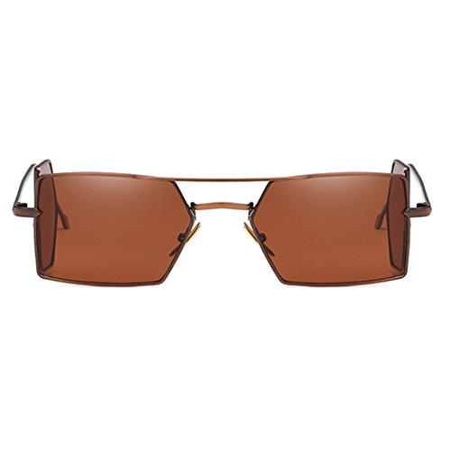 soleil Brun hommes rectangle Retro lunettes de Inlefen soleil verres lunettes Vintage quatre de pour Café femmes d'objectif aFqBwR1w