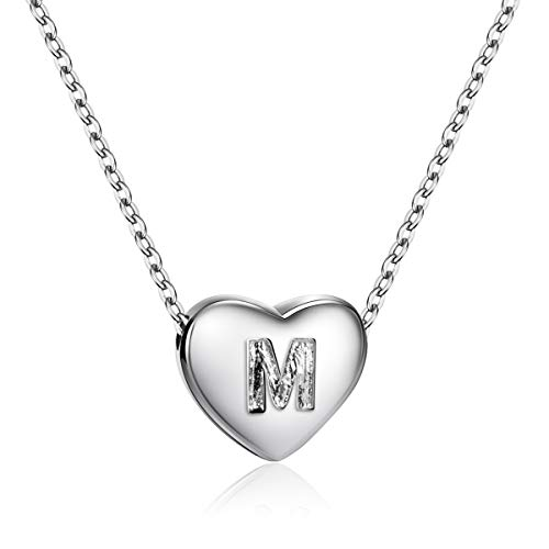 Dainty Heart Initial Necklace S925 Sterling Silver Letters M Alphabet Pendant Necklace Birthday Gift for Niece ()