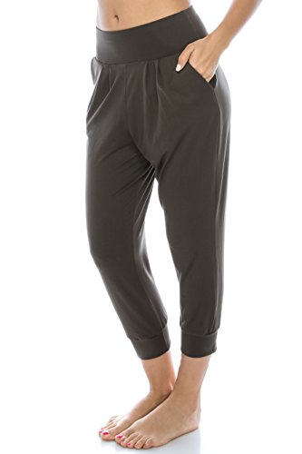 EttelLut Harem Jogger Yoga Exercise Loose Fit Casual Pants With Side Pockets Olive L Cropped Pocket