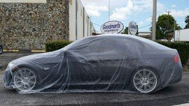 Car Condom Disposable Plastic Car Cover with Elastic Band Medium Size 21' x 12.5' (Paintings For Cars)