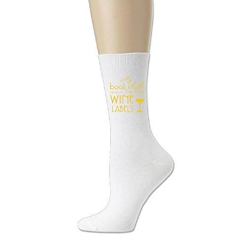WU-RONGRONG WU Men's Cotton Crew Athletic Sock My Book Club Only Reads Wine Labels Unisex Running Crew Sock Comfort Blend Crew Sock For - Label Tiles Wine