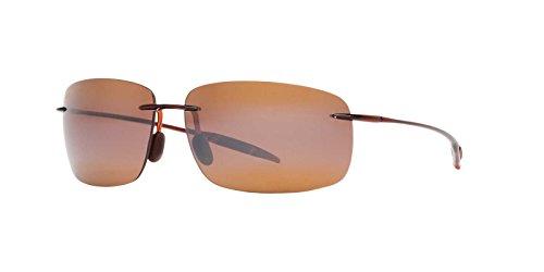 Bronze Lens Gloss Tortoise Frame - Maui Jim Breakwall H422-26 | Polarized Rootbeer Rimless Frame Sunglasses, HCL Bronze Lenses, with Patented PolarizedPlus2 Lens Technology